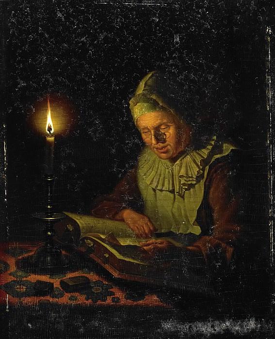 Meulemans, Adriaan -- Lezende oude vrouw, 1800 - 1833. Rijksmuseum: part 1