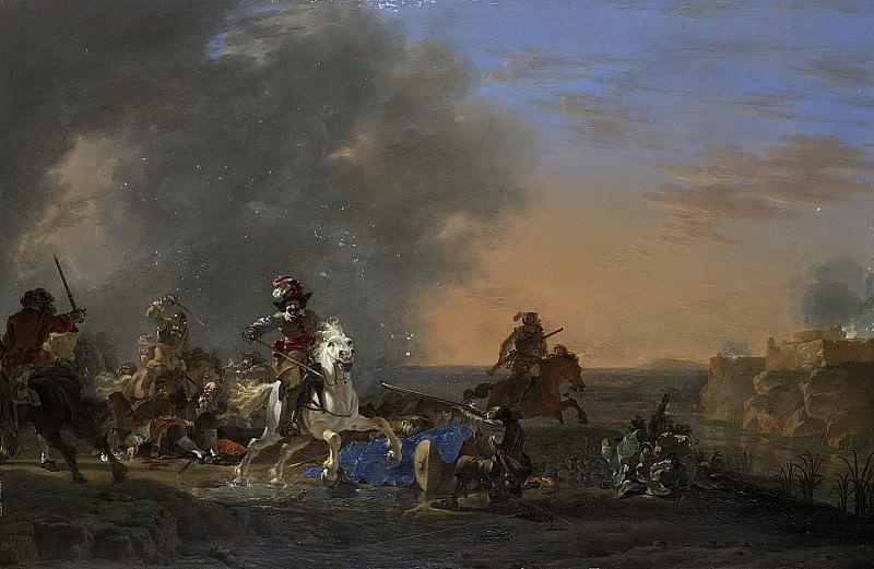 Asselijn, Jan -- Ruitergevecht bij zonsondergang., 1646. Rijksmuseum: part 1