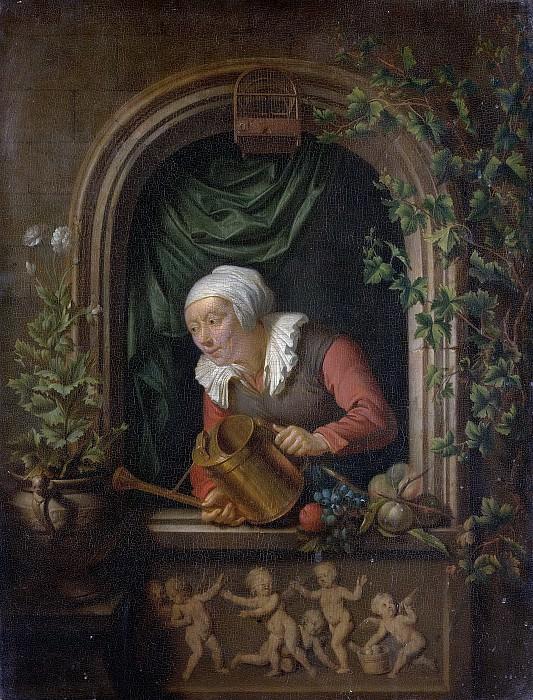 Moni, Louis de -- Vrouw een plant begietend, 1720-1771. Rijksmuseum: part 1
