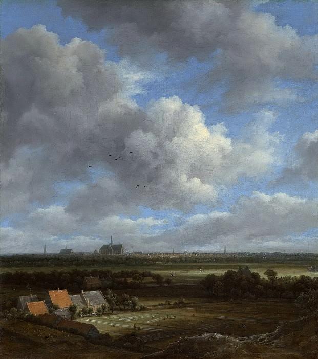 Якоб Исаакс ван Рейсдаль -- Вид на Харлем в северо-западном направлении и отбеливаемые холсты на переднем плане, 1650-1682. Рейксмузеум: часть 1