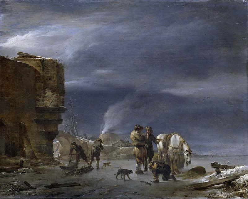 Николас Питерс Берхем - Ледяной покров рядом с городом, 1647. Рейксмузеум: часть 1
