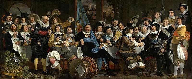 Helst, Bartholomeus van der -- De schuttersmaaltijd in de Voetboog- of St. Jorisdoelen te Amsterdam ter viering van het sluiten van de vrede van Munster, 18 juni 1648, 1648. Rijksmuseum: part 1