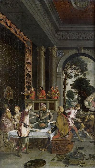 Unknown Artist -- De gelijkenis van de rijke man en de arme Lazarus. Op de achterzijde de beelden van de heilige Petrus en Maria met kind op een terras, in grisaille, 1550 - 1575. Rijksmuseum: part 1