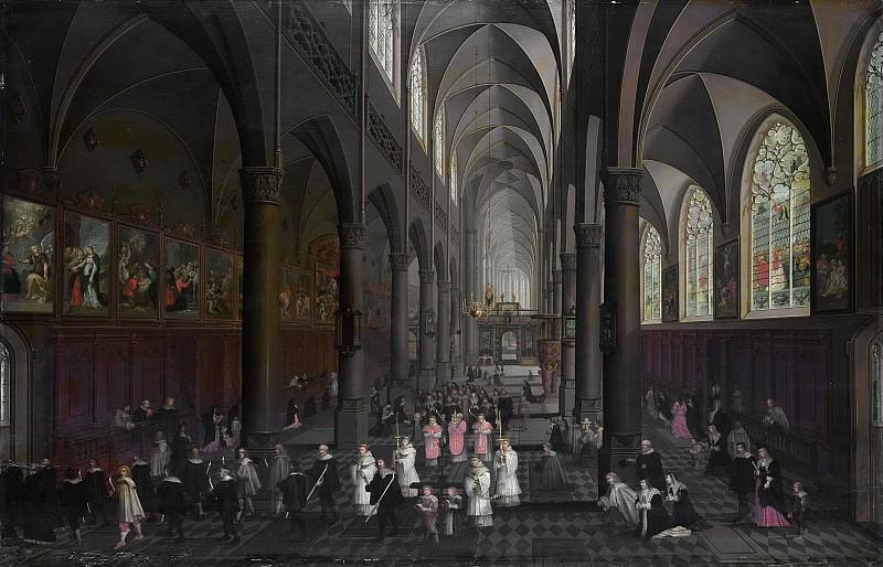 Neefs, Pieter (I) -- De Dominicanerkerk te Antwerpen van binnen gezien, 1636. Rijksmuseum: part 1