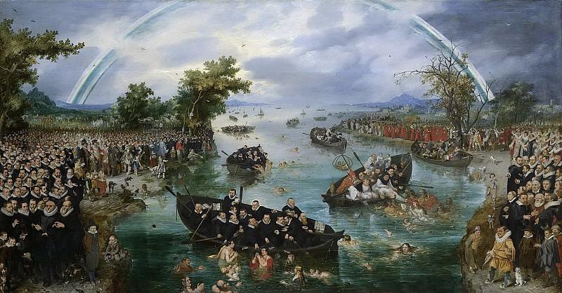Venne, Adriaen Pietersz. van de -- De zielenvisserij, allegorie op de ijverzucht van de verschillende religies tijdens het Twaalfjarig Bestand tussen de Nederlandse Republiek en Spanje, 1614. Rijksmuseum: part 1
