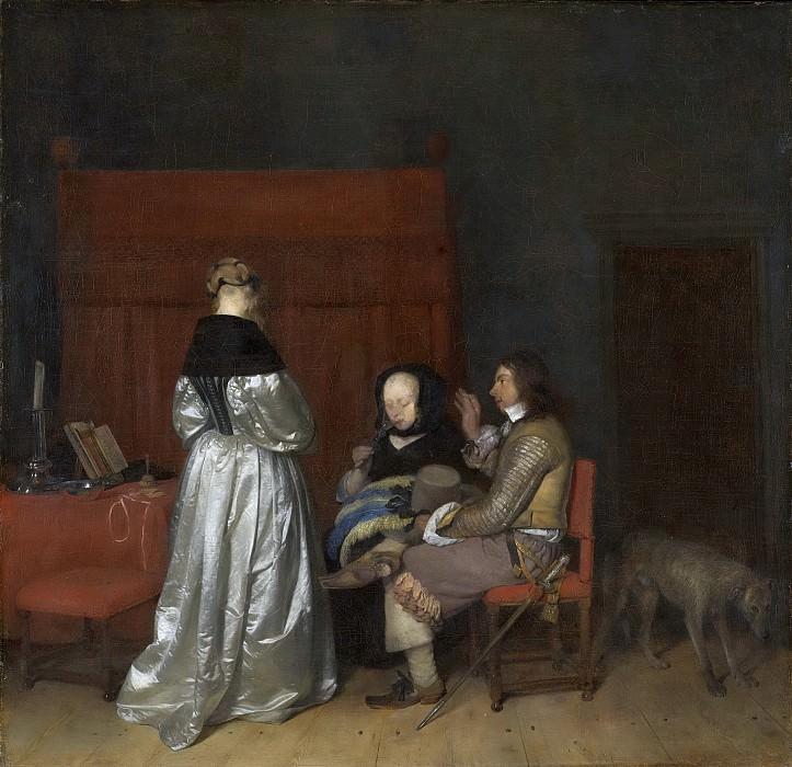 Borch, Gerard ter (II) -- Interieur met drie figuren die met elkaar in gesprek zijn; bekend als 'De vaderlijke vermaning, 1653-1655. Rijksmuseum: part 1