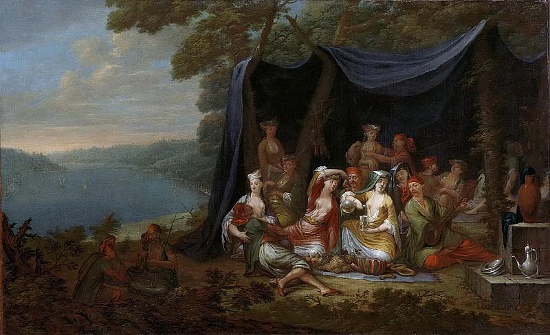 Vanmour, Jean Baptiste -- Feestende Turkse hovelingen voor een tent, 1727 - 1737. Rijksmuseum: part 1
