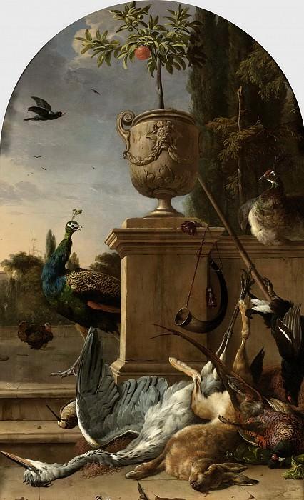 Hondecoeter, Melchior d -- Jachtbuit bij een bordes, 1678. Rijksmuseum: part 1