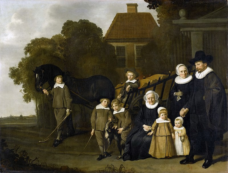 Loo, Jacob van -- De familie Meebeeck Cruywagen bij de poort van hun buitenhuis aan de Uitweg bij Amsterdam, 1640-1645. Rijksmuseum: part 1