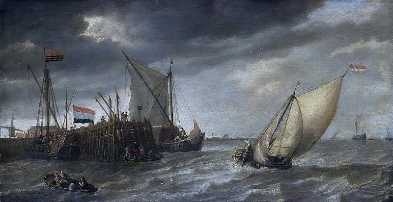 Peeters, Bonaventura (I) -- Schepen bij een steiger, 1635 - 1652. Rijksmuseum: part 1