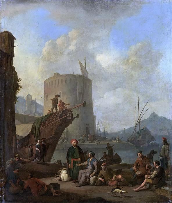 Lingelbach, Johannes -- Italiaanse haven met vestingtoren, 1664. Rijksmuseum: part 1