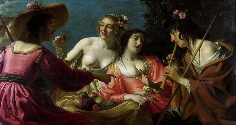 Герард ван Хонтхорст -- Пастух, играющий на флейте, и четыре Нимфы, 1632. Рейксмузеум: часть 1