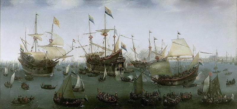 Vroom, Hendrik Cornelisz. -- De terugkomst in Amsterdam van de tweede expeditie naar Oost-Indië, 19 juli 1599, 1599. Rijksmuseum: part 1