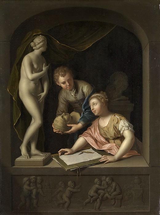 Werff, Pieter van der -- Een tekenares en een jongen bij een beeld van Venus, 1715. Rijksmuseum: part 1