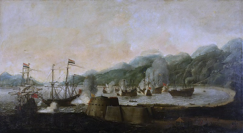 Anthonissen, Hendrick van -- De verrassing van drie Portugese galjoenen in de Baai van Goa, 30 september 1639, 1653. Rijksmuseum: part 1