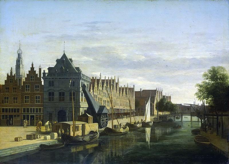 Berckheyde, Gerrit Adriaensz. -- De Waag en de kraan aan het Spaarne te Haarlem, 1660-1698. Rijksmuseum: part 1