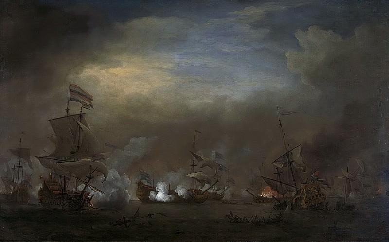 Виллем ван де Вельде (II) -- Ночная схватка у Кейкдейна между К.Тромпом на «Золотом льве» и сэром Э.Спрэггом на «Наследном принце», 1673-1707. Рейксмузеум: часть 1