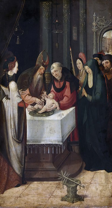Cock, Pseudo Jan Wellens de -- Linkervleugel van een altaarstuk met de besnijdenis (binnenzijde) en Maria van een verkondiging (buitenzijde), 1515 - 1525. Rijksmuseum: part 1