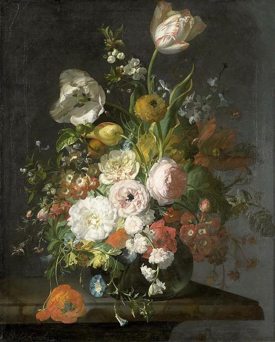 Ruysch, Rachel -- Stilleven met bloemen in een glazen vaas, 1690-1720. Rijksmuseum: part 1