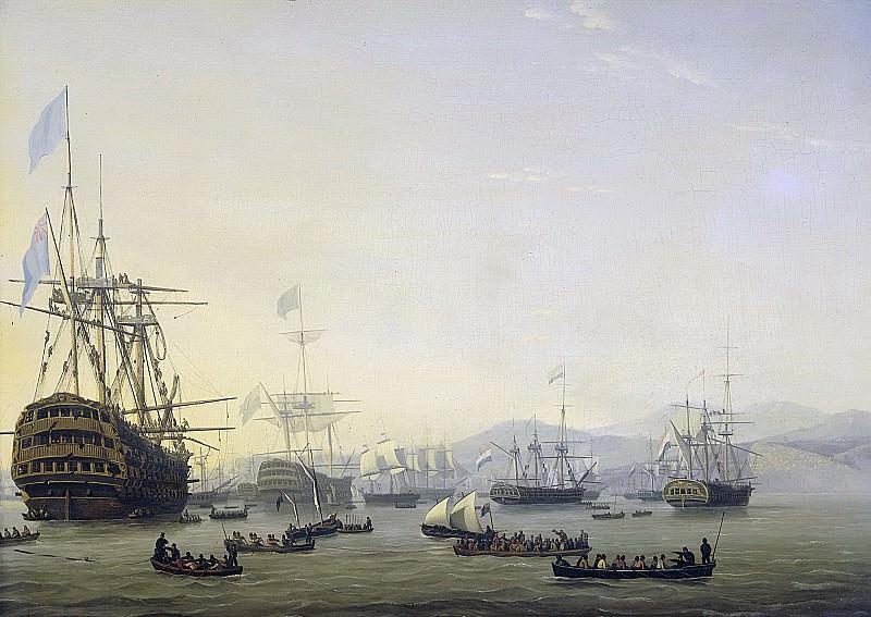 Baur, Nicolaas -- Krijgsraad aan boord van de 'Queen Charlotte' van Lord Exmouth voor het bombardement op Algiers, 26 augustus 1816., 1818. Rijksmuseum: part 1