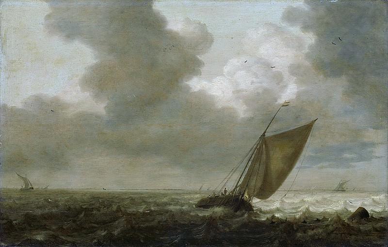 Mulier, Pieter (I) -- Vissersboot zeilend voor de wind, 1625 - 1640. Rijksmuseum: part 1