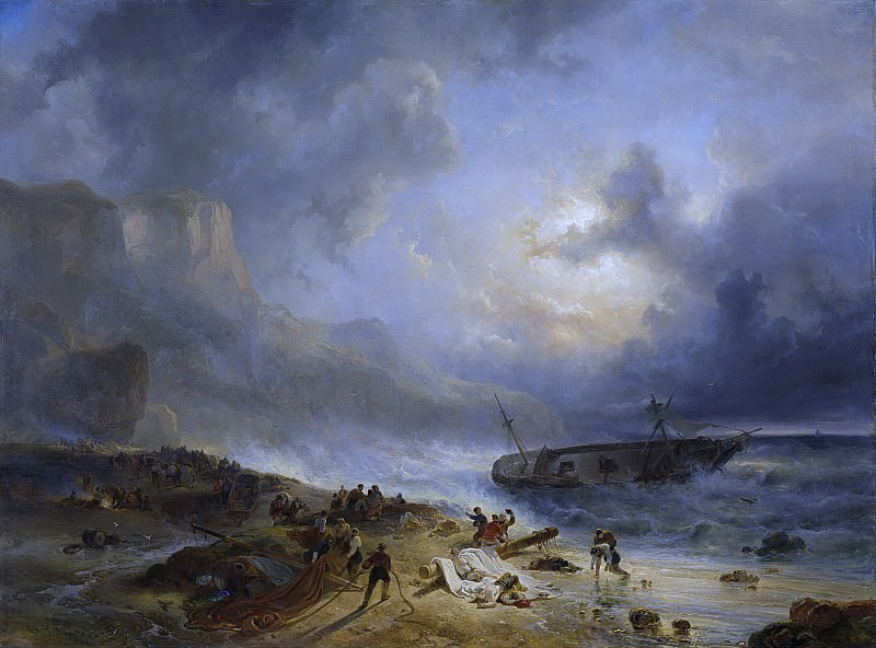 Nuijen, Wijnand -- Schipbreuk op een rotsachtige kust, 1837. Rijksmuseum: part 1