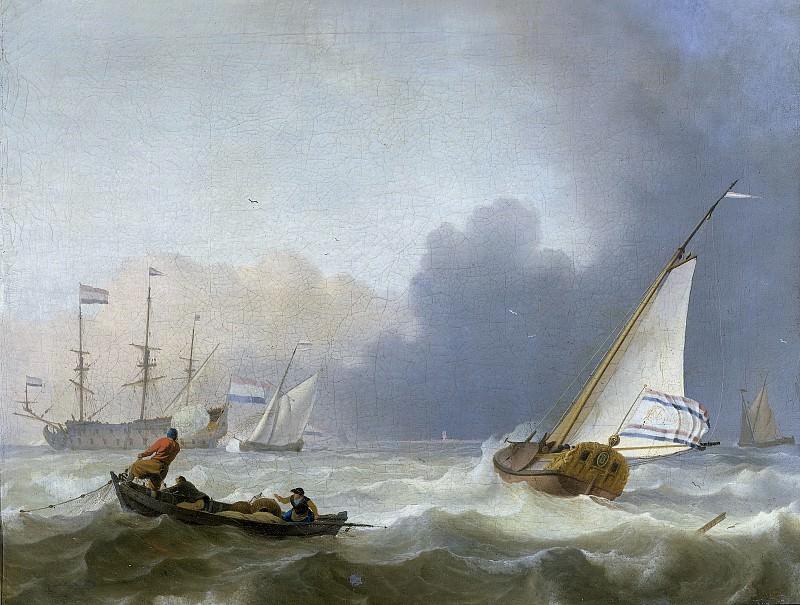 Bakhuysen, Ludolf -- Woelige zee met Nederlands jacht onder zeil., 1694. Rijksmuseum: part 1