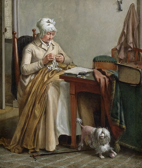 Hendriks, Wybrand -- Interieur met naaiende vrouw, 1800 - 1810. Rijksmuseum: part 1