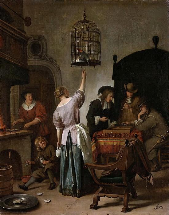 Steen, Jan Havicksz. -- Interieur met een vrouw, die een papegaai voert, twee triktrakspelers en andere figuren, bekend als 'De papegaaiekooi, 1660-1670. Rijksmuseum: part 1