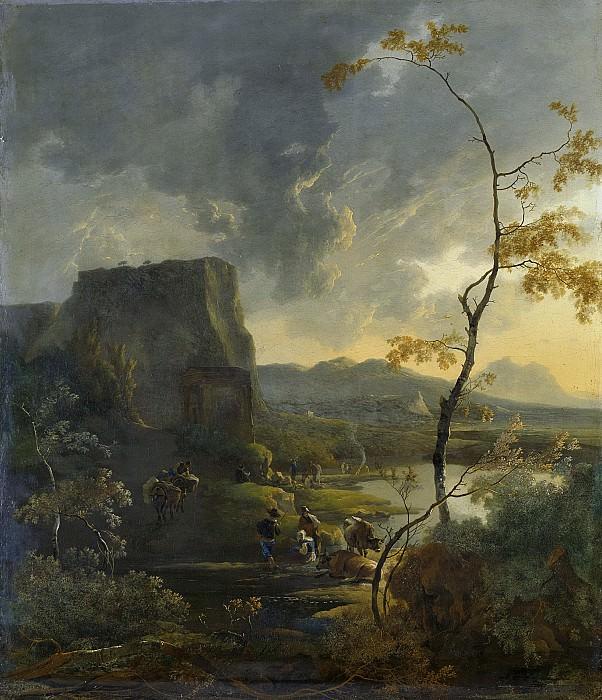 Pijnacker, Adam -- Italiaans landschap met tempel, 1649-1673. Rijksmuseum: part 1