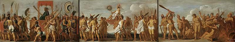 Unknown Artist -- De behandeling van krijgsgevangenen door de Tupinamba-indianen, in drie taferelen, 1630. Rijksmuseum: part 1