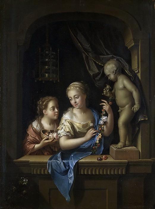Werff, Pieter van der -- Twee meisjes met bloemen bij een beeld van Cupido, 1713. Rijksmuseum: part 1