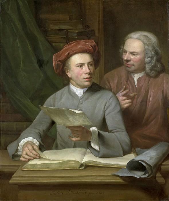 Quinkhard, Julius Henricus -- Zelfportret met zijn vader en leermeester Jan Maurits Quinkhard naast hem staande, 1757. Rijksmuseum: part 1