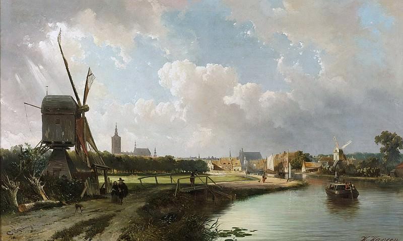 Springer, Cornelis -- Gezicht op Den Haag, vanaf de Delftse vaart in de 17e eeuw, 1852. Rijksmuseum: part 1