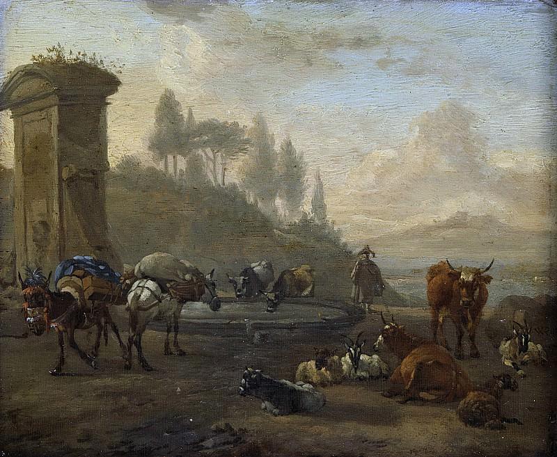 Виллем Ромейн -- Стадо у фонтана, 1650-1694. Рейксмузеум: часть 1