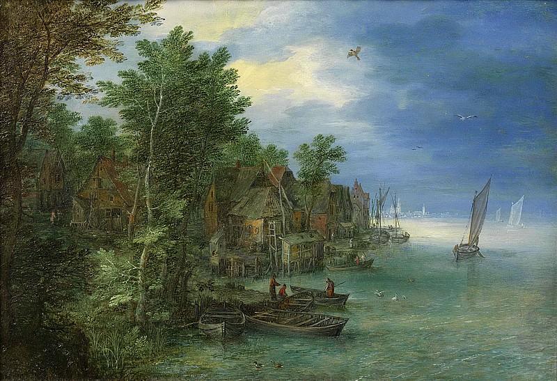 Brueghel, Jan (I) -- Gezicht op een dorp aan een rivier, 1604. Rijksmuseum: part 1