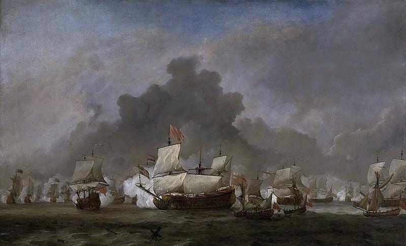 Velde, Willem van de (II) -- Het gevecht van Michiel Adriaensz de Ruyter tegen de hertog van York op de 'Royal Prince' tijdens de zeeslag bij Solebay, 1691. Rijksmuseum: part 1
