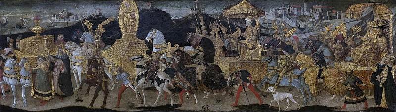 Аполлонио ди Джованни -- Выступление Дария к реке Иссе, где произойдет битва с врагом, 1450-1455. Рейксмузеум: часть 1