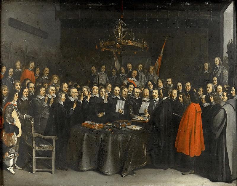 Герард Терборх (II) -- Подписание мирного договора между Испанией и Республикой Соединенных провинций в ратуше Мюнстера 15 мая 1648 г.. Рейксмузеум: часть 1