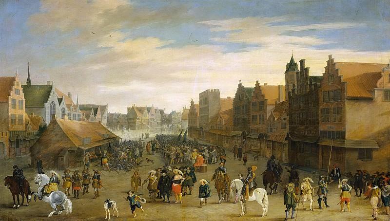 Hillegaert, Pauwels van -- Het afdanken der waardgelders door prins Maurits op de Neude te Utrecht, 31 juli 1618, 1627. Rijksmuseum: part 1