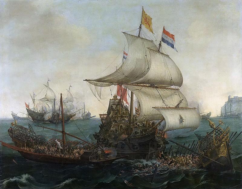 Vroom, Hendrik Cornelisz. -- Hollandse schepen overzeilen Spaanse galeien onder de Engelse kust, 3 oktober 1602, 1617. Rijksmuseum: part 1