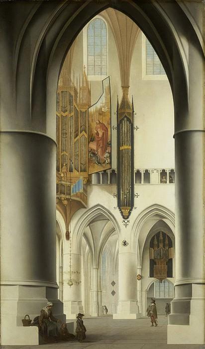 Saenredam, Pieter Jansz. -- Interieur van de Sint Bavokerk te Haarlem, gezien vanuit de zuidelijke kooromgang door het koor en de noordelijke kooromgang met het grote orgel, 1636-04-15 - 1636. Rijksmuseum: part 1