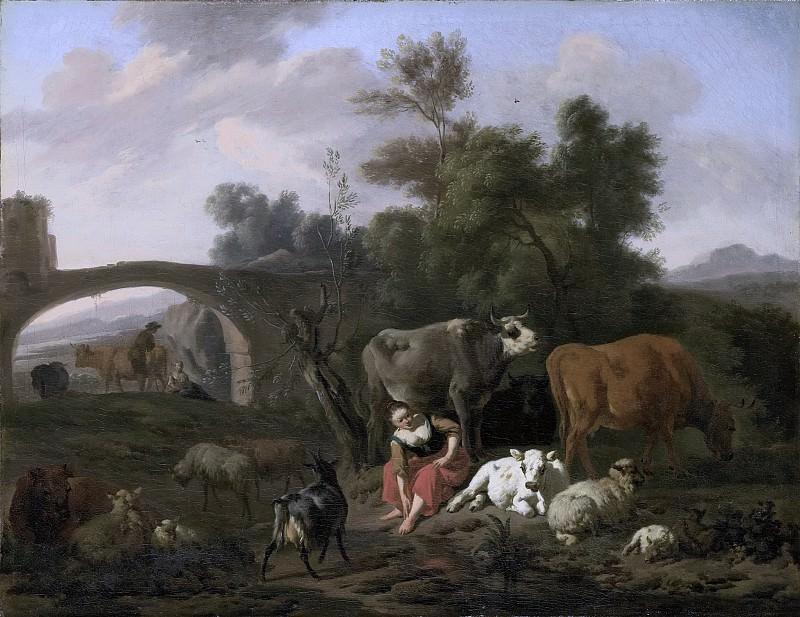 Bergen, Dirck van -- Landschap met herdersvolk en vee., 1660-1690. Rijksmuseum: part 1