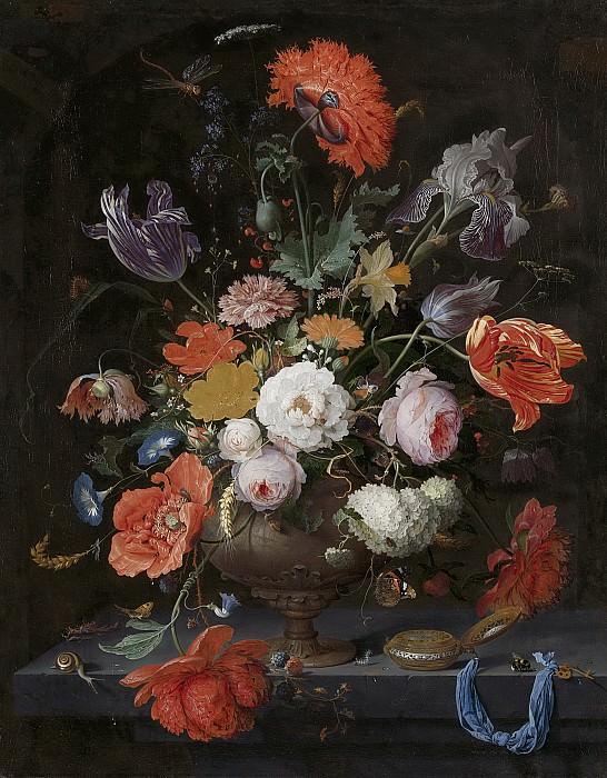Mignon, Abraham -- Stilleven met bloemen en een horloge, 1660-1679. Rijksmuseum: part 1