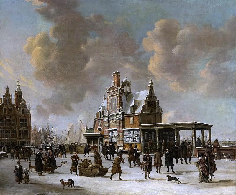 Беерстратен, Ян Абрахамс - Дом на сваях и Новый мост в Амстердаме зимой, 1640-66. Рейксмузеум: часть 1