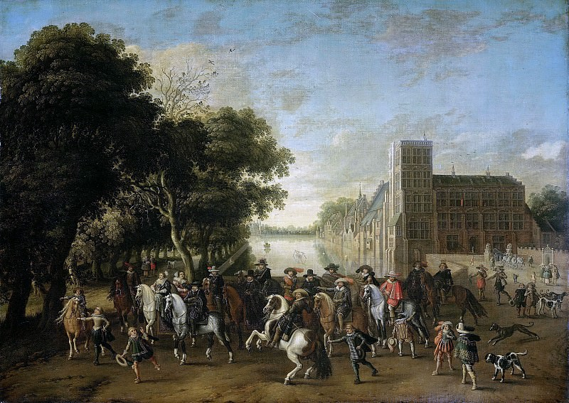 Hillegaert, Pauwels van -- Prins Maurits in gezelschap van o.a. prins Frederik Hendrik, 1621-1625. Rijksmuseum: part 1