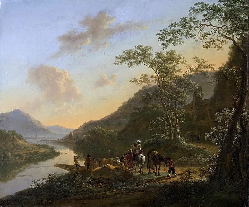 Ян Бот -- Итальянский пейзаж и хорошо заметный паром, 1640-1652. Рейксмузеум: часть 1