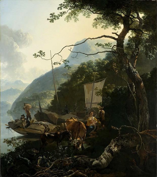Pijnacker, Adam -- Schippers met hun boten aan de oever van een Italiaans meer; misschien bedoeld als de vlucht naar Egypte, 1650-1670. Rijksmuseum: part 1