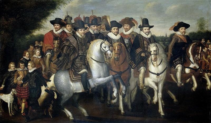 Venne, Adriaen Pietersz. van de -- Prins Maurits vergezeld door zijn twee broeders, Frederik V, keurvorst van de Palts en enkele graven van Nassau te paard, 1625. Rijksmuseum: part 1