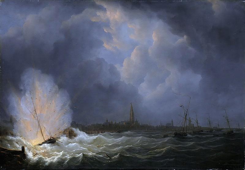 Мартинус Схоуман - Взрыв у Антверпена канонерки №2 под командой Яна ван Спейка в 1831 г., 1832. Рейксмузеум: часть 1